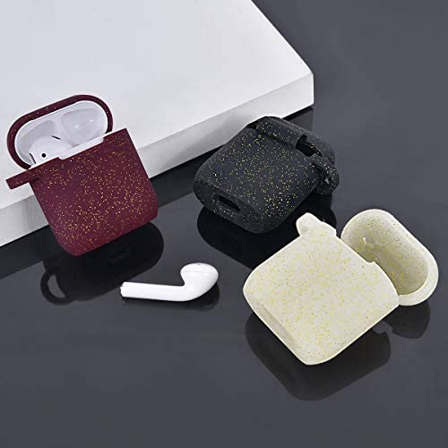 AIRSPO Airpods Case Silicone Case for AirPods Charging Case 2 & 1 [Front LED Visible] Bling Glitter Luxury Shockproof Protective Cover Skin with Anti-Lost Carabiner (Black+Burgundy) 415RhXc0A2L