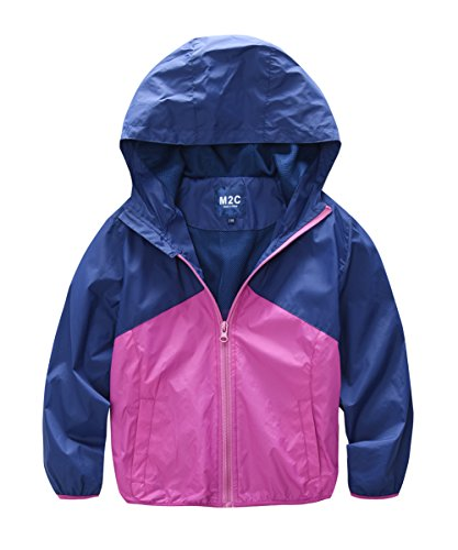 M2C Girls Hooded Water Resistant Windbreaker Jackets 8/9 Shocking Pink by M2C