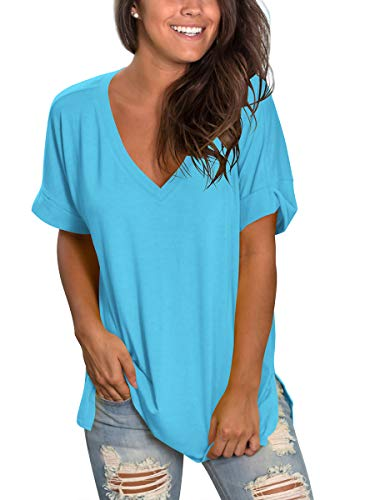 Womens Deep V Neck Shirts Summer Casual Tops High Low Lake Blue ()