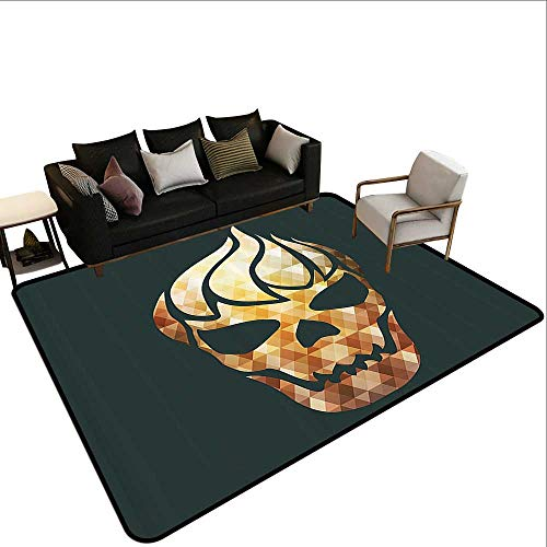 Rectangular Rug Modern Gothic Skull with Fractal Effects in Fire Evil Halloween Concept Anti-Slip Doormat Footpad Machine Washable3'11 x5'10 Yellow Light Caramel Dark Grey