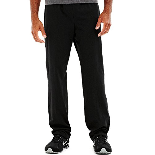 Hanes P7309 Mens Open Bottom Jersey Pants, Black - Large