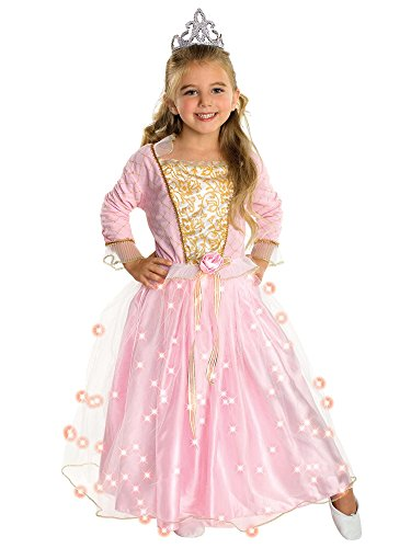 Cinderella Halloween Costume 2016 (Child's Rose Princess Costume with Fiber Optic Light Twinkle Skirt Medium)