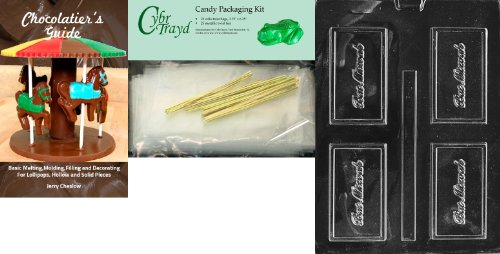 Cybrtrayd Bat Mitzvah Business Card Chocolate Candy Mold with Chocolatier's Bundle, Includes 25 Cello Bags and 25 Gold Twist Ties
