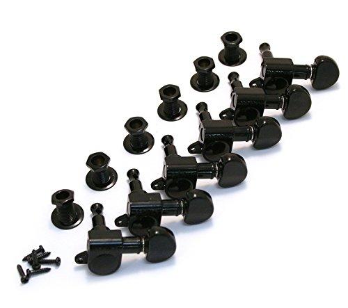 (Grover 205BC6 Rotomatic Mini 6 in Line Machine Heads, Black Chrome)