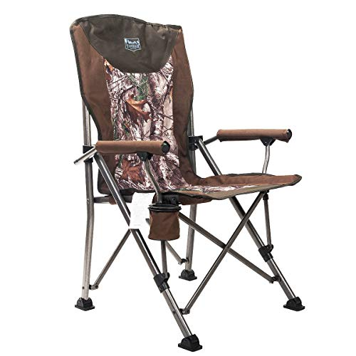 Timber Ridge Folding Quad Padded Chair Portable with Carry Bag Supports 300lbs for Outdoor ()