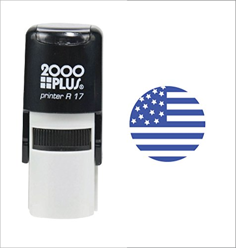 Plus 2000 Self Inking (USA Flag 2000 Plus Self Inking Patriotic Teacher Rubber Stamp for Veteran, 4th of July and Memorial Day - Blue Ink)