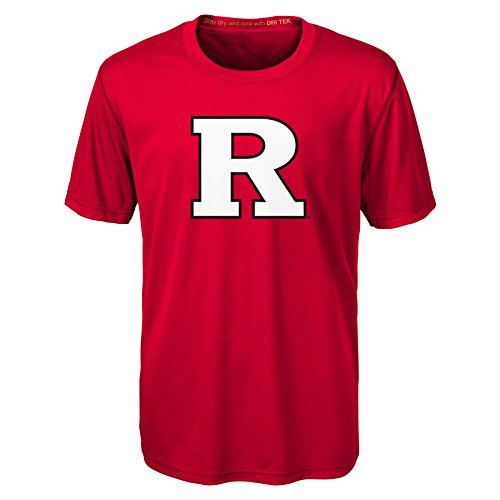 Rutgers Scarlet Knights Logo (OuterStuff NCAA Rutgers Scarlet Knights Youth Boys Carbon Logo Performance Short sleeve Tee, Xl(18), Red)