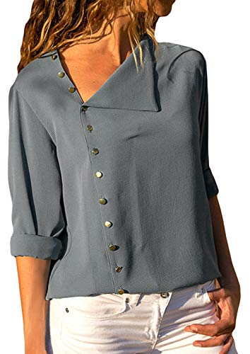 MZ Fashion Womens Casual Long Sleeve Chiffon Blouse Ladies Loose Button Detail Fit Solid Tops Shirt (Grey-S)