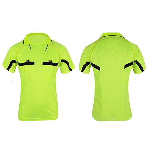 EDTara Breathable Quick-Dry Football Wear Set Short-Sleeve T-Shirt Shorts Referee Clothing Professional Soccer Match Jersey Over-Turned Collar Sports Wear ()