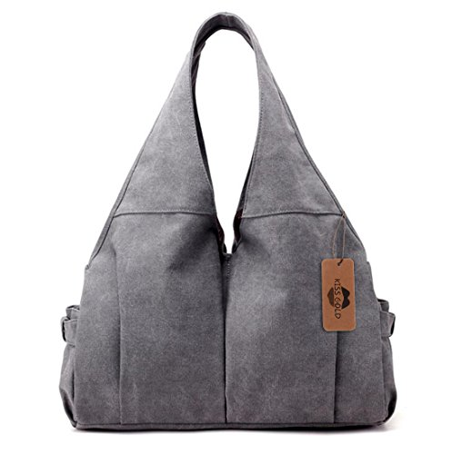 KISS GOLD(TM) Casual Canvas Hobo Tote Handbag Top-handle Bag for Women, Grey by KISS GOLD