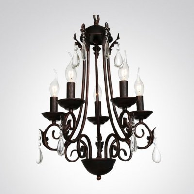 hua Curving Arms Five-Light Antique Copper Finished Crystal Teardrops Chandelier
