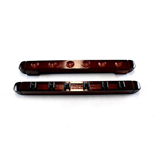 T&R sports 2-Piece Wall Mounted Hardwood Billiard/Pool Cue Rack, Holds 6 Cues, Mahogany Finish