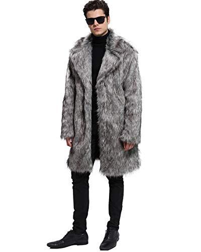 Lafee Bridal Men's Luxury Faux Fur Coat Jacket Winter Warm Long Coats Overwear Outwear Grey XXL (Fake Fur Coat Costume)