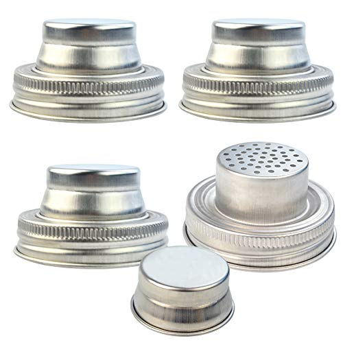 obmwang 4 Pack of Stainless Steel Mason Jar Shaker Lids Caps for Cocktail,Dredge Flour,Mix Spices,Sugar, Salt, Peppers and More or Shake Drinks Cocktail-Fits Any Regular Mouth Mason Jar Canning Jar