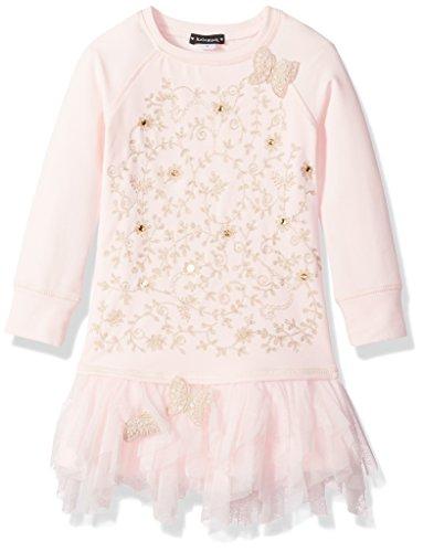 Kate Mack Toddler Girls' Spun Gold Sweatshirt Dress With Embroidery, Pink, 3T - Kate Mack Girls Clothing