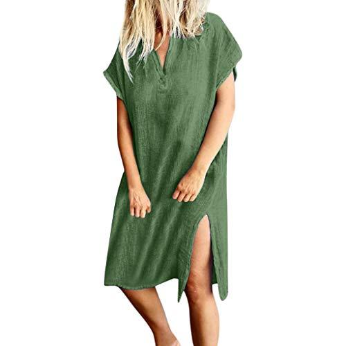 TUSANG Women Skirts Casual V-Neck Short Sleeve Solid Knee-Length Split Hem Dresses Loose Flowy Comfy Dress Green