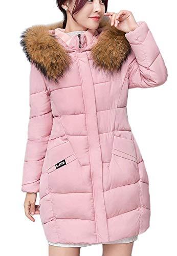 Chiusura Costume Fashion Cappotti Piumino Cerniera Casual A Cappotto Lunga Rosa Invernali Giacca Termico Tasche Calda Con Huixin Autunno Donna Manica Trapuntata WYwHBaUYq7