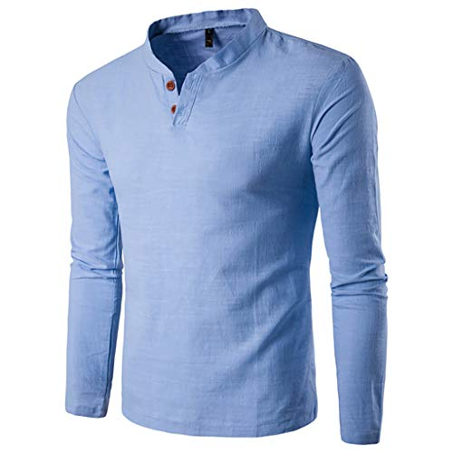Mens Casual Henleys Solid Button Stand V Neck Shirt Top Blouse by Balakie(Blue,M)