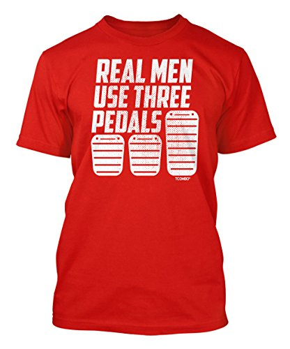 Real Men Use Three Pedals Men's T-shirt (Large, RED)