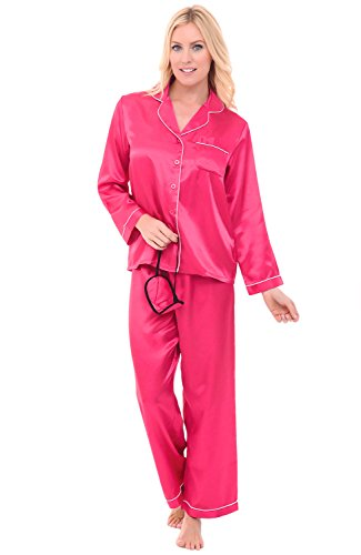 Del Rossa Women's Satin Pajamas, Long Button-Down Pj Set and Mask, Medium Magenta with White Piping (A0750MAGMD)