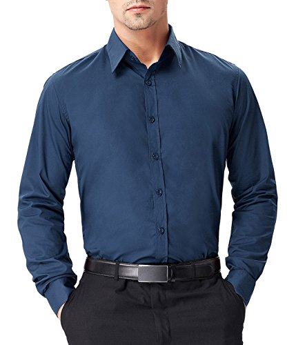 PAUL JONES Men's Regular Fit Solid Long Sleeve Dress Shirt, Prussian Blue by PAUL JONES (Image #1)