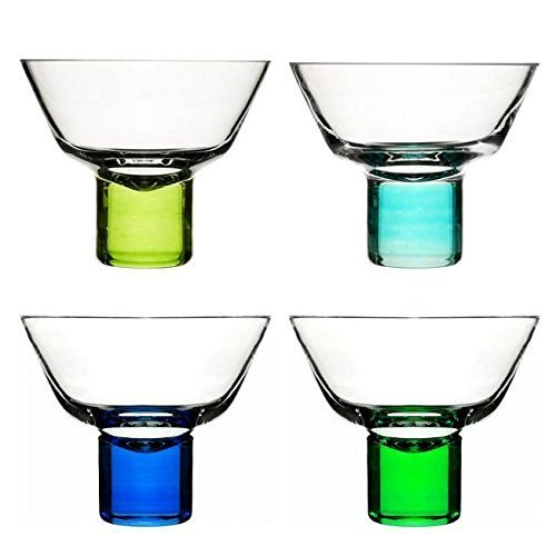 Sagaform 5015925 Hand-blown Martini Glass, Blue/Green, Set of 4 by (Sagaform Green)