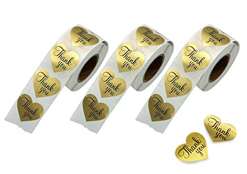 Thank You Stickers Gold Heart Shaped Foil Easy-Pull Adhesive Foil Labels (1500 Pack)