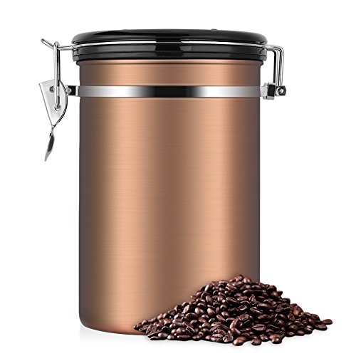 Brown Kitchen Canisters (Coffee Container,Stainless Steel Brown Vacuum Sealed Food Storage Coffee Canister (22 OZ))