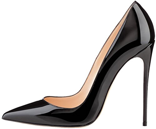 Calaier Damen Caover 12CM Stiletto Schlüpfen Pumps Schuhe Schwarz B