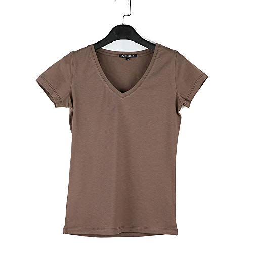Keetall V-Neck Cotton Basic T-Shirt Women Plain Simple Short Sleeve 077 Light Coffee S