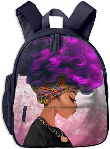 紫髪の色アフリカの女性 迷子防止リュック バックパック 子供用 子ども用バッグ ランドセル 高品質 レッスンバッグ 旅行 おでかけ 学用品 子供の贈り物