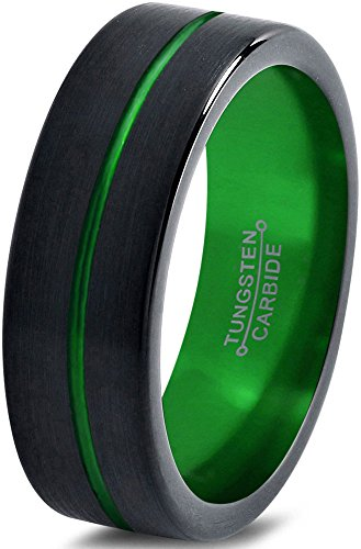 ion Tungsten Wedding Band Ring 6mm for Men Women Black Green Center Line Flat Pipe Cut Brushed Polished Size 8.5 ()