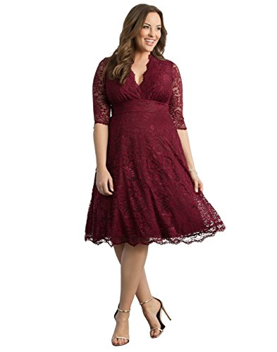 Kiyonna Women's Plus Size Mademoiselle Lace Dress 1X Pinot Noir - Edge Pinot