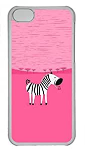 Hard Platic Transparent PC Back Cover for iPhone 5C,Zebra on Pink Background Case for iPhone 5C,Pink Backgroung Case for iPhone 5C
