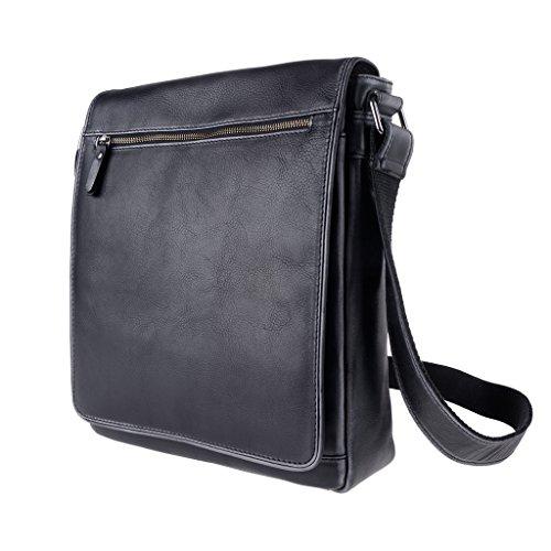 Bolso bandolera de piel bolso de hombro Messenger con solapa DUDU Negro