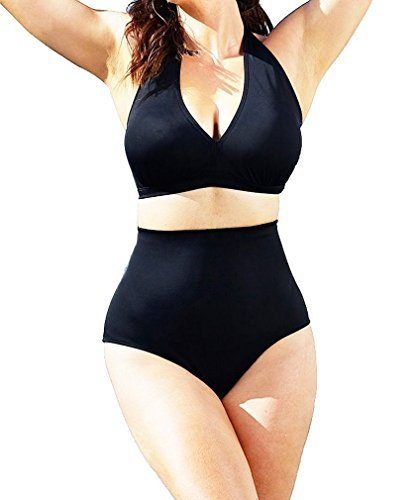 Lukitty Women's Plus Size Retro High Waist Bikini Sets Swimsuits Bathing Suits XL Black