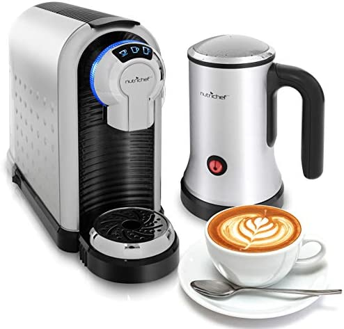 NutriChef PKNESPRESO70 Machine Coffee Cappuccino Maker with Milk Frother-Compatible with Nespresso Coffee Capsule Pods-Instant Heating and 3 Brewi, Brewing Sizes