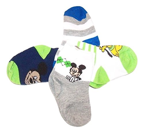(Disney Mickey or Minnie Mouse 4 Pair Infant Socks (12-24 Months, Blues & Greens))