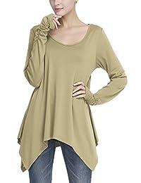 Urban CoCo Women's Long Sleeve Handkerchief Tunic Top with Thumb Hole