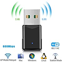 USB Wifi Adapter,Wireless Network Adapter/Dongle,Dual Band 2.4G/5.8G 600Mbps Mini Network Card for Laptop Desktop PC Support Windows7/8/10 /XP/Vista, Linux 2.4/2.6 and Mac OS X 10.4-10.11 by CloudWave