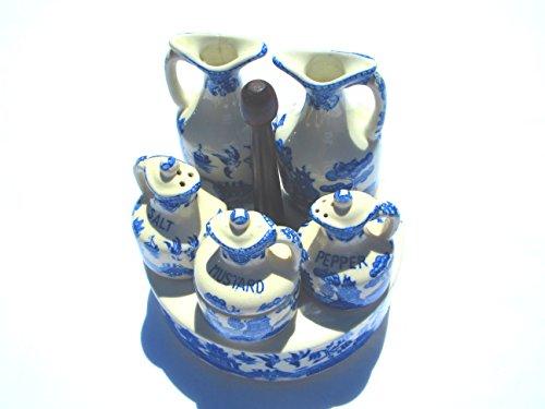 - Blue Willow Vinegar, Oil, Salt, Mustard, Pepper with holder - Spin - Very Unique