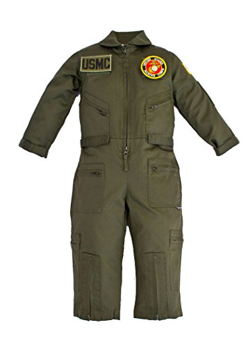 - Kids Military Pilot Airman OD Green Flight Suit U.S.M.C. Patches XL (12)