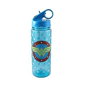 Silver Buffalo WW0964 DC Comics Wonder Woman Logo Stars Tritan Water Bottle, 20-Ounces