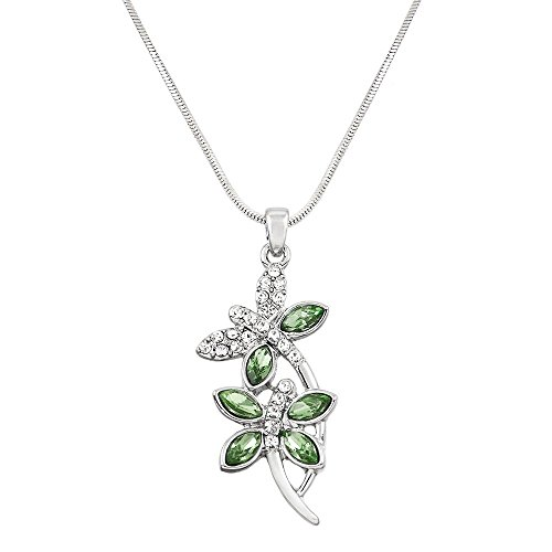 Liavy's Double Dragonfly Charm Pendant Fashionable Necklace - Sparkling Crystal - 17