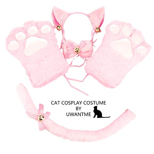 Cat Cosplay Costume Kitten Tail Ears Collar Paws Gloves Anime Lolita Gothic Set Pink -