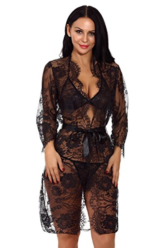 Robes Exotic (XYlove Women's Sexy Lace Long Robe Lingerie Set(4 Pieces)(Black-XXL))