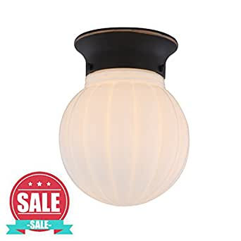 【SALE】Bronze Finish ceiling light fixture with White Ribbed Glass Globe 1-Light Ceiling Flush Mount, LED Support Lamp WISBEAM