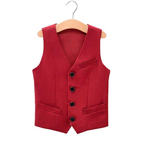 - Fankeshi Boy's 4 Button Formal Suit Vest Red 14