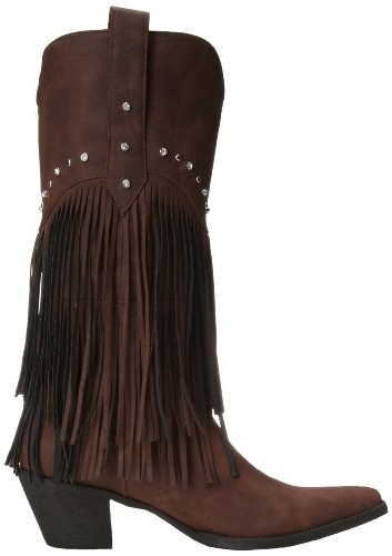 Frusta Womens Frange E Borchia Western Boot Marrone / Borchia Di Cristallo