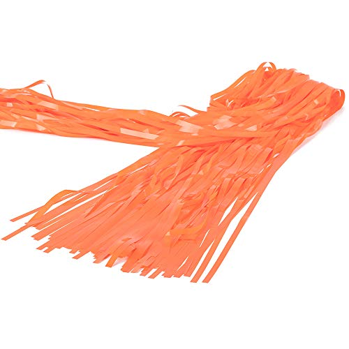 Window Decorative Delicate (Foil Fringe Metallic Curtain Backdrops - with Balloon Sticks 3FTX8FT Tinsel Shiny Curtains Perfect for Photo Booth Party/Window/Door Decorative Fringe Curtains,Pack of 3 Orange)